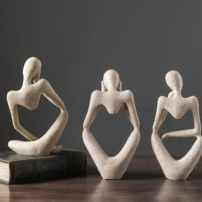 Resin Nordic Abstract Thinker Statue Figurine Modern Art Handmade Crafts Sculpture
