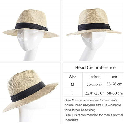 Panama Style Straw Sun Hat With a Black Ribbon Band For Women & Man