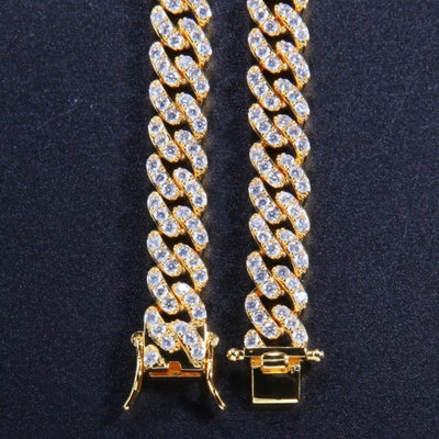 9 mm Iced Out Cuban Link Chain Hip Hop CZ Choker Necklace For Men & Women