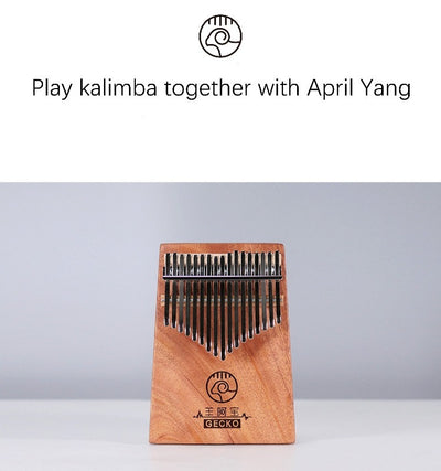 April Yang X GECKO Kalimba Thumb Piano 17 Keys Acoustic Solid Body key=A