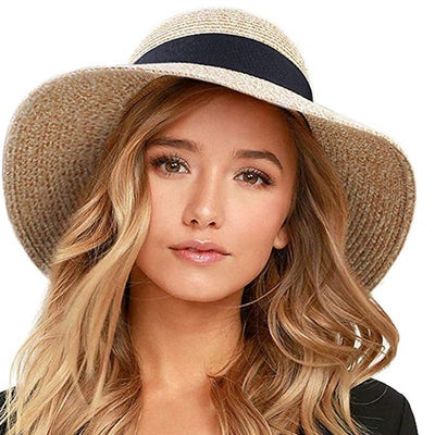 Summer Beach Wide Brim Straw Sun Hat For Women
