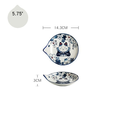 Japanese Style Ceramic Teardrop Plates Dishes Sets Cute Cat Painted