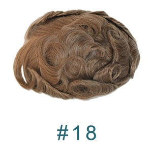 French Lace with Skin Poly Men Breathable Toupee Lace Front Wig Human Hair Replacement System