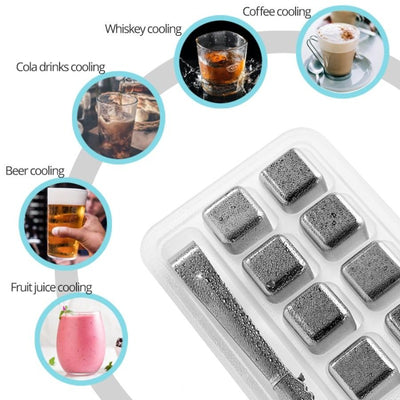 Stainless Steel Ice Cubes, Reusable Chilling Stones for Whiskey Wine, Keep Your Drink Cold Longer, SGS Test Pass