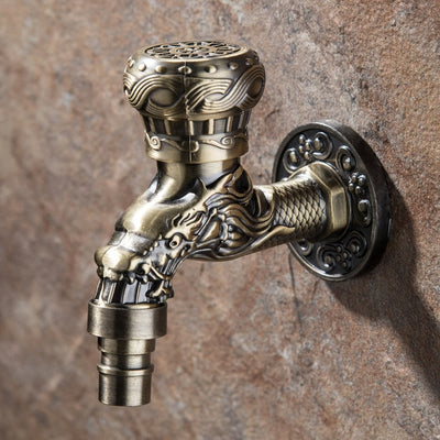 Zinc Alloy Retro Carved Wall Bottle Tap Decorative Outdoor Garden Faucet
