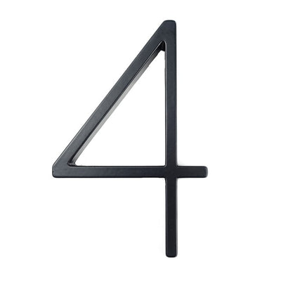 Modern House Number & Alphabet - Floating Black Numbers Sign Plaque 125 mm