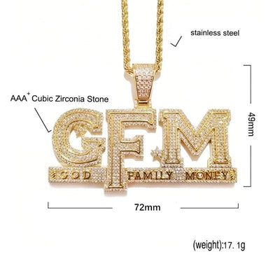 Iced Out Letters God FAMILY MONEY Pendant Necklace AAA Zircon Charms Hip Hop Jewelry