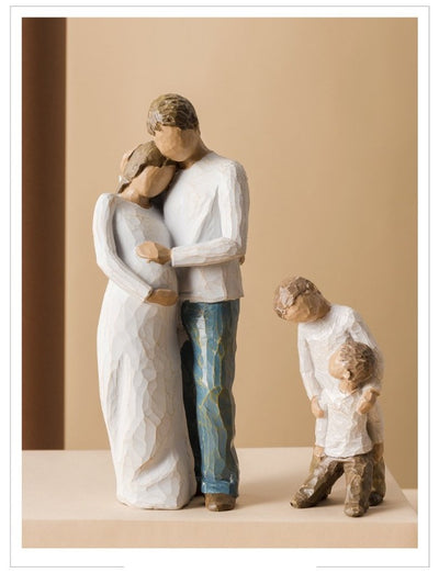 Nordic Resin Figurines Ornaments - Happy Family Mom Dad and Children Statue For Home Decoration