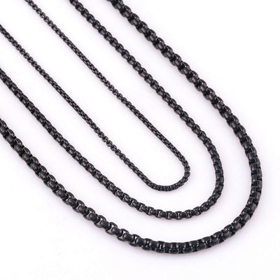 Stainless Steel Black Link Chain Necklace For Men and Women