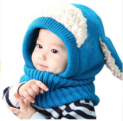 4fec3a1191e New Knitted Baby Hat With Scarf - Cute Toddler Beanie Warm Hat Hooded Scarf