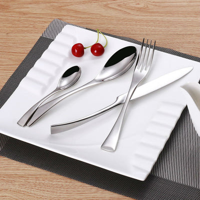 24 Pcs Stainless Steel Flatware Set Cutlery Knife Fork Spoon Set