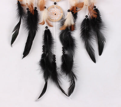 Handmade 5 Circle Dream Catcher With Feather Wall Hanging Decoration
