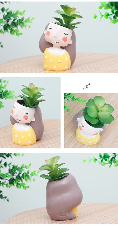 Mini Flower Plant Pots - 4 pcs Bonsai Cactus Pots European Style For Home Decor