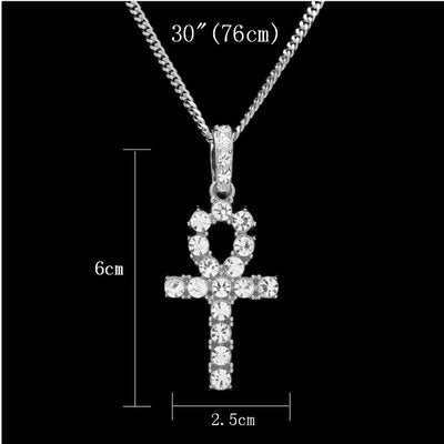 Hip Hop  Iced Out Necklace Bling Rhinestone Egypt Cross Pendant Tennis Chains