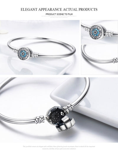 100% 925 Sterling Silver Bangle - The Eye Of Samsara  Bracelets Symbolize