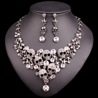 New Rhinestones Vintage Skull Necklace & Earrings Jewelry Sets