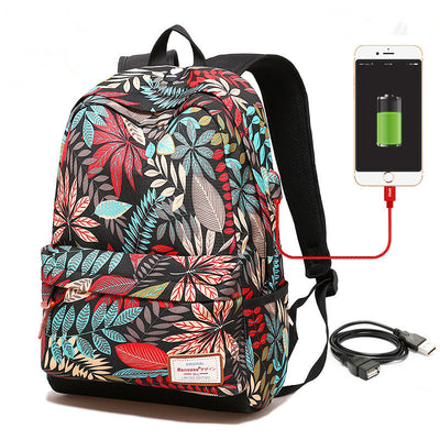 Cute Laptop USB Charging Backpacks For College Girl