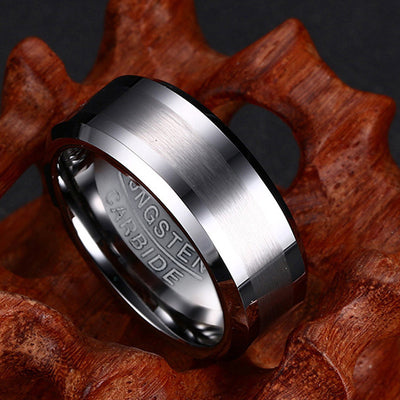 8MM 100% Tungsten Carbide Ring for Men Wedding Bands Never Rust