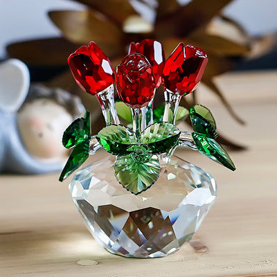 Cute Red Rose Spring Bouquet Crystal Flowers With Gift Boxed