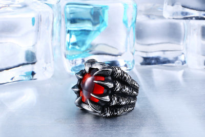 Stainless Steel Dragon Claw Ring CZ Zircon Personality Jewelry
