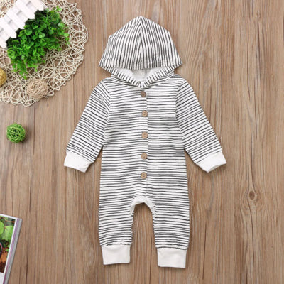 Baby Striped Romper Long Sleeve Single-breasted Jumpsuit  Clothes Outfits