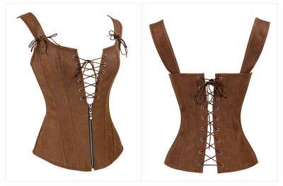 Sexy Faux Leather Corset Lace Up And Zipper Up Closure