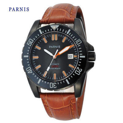 Parnis Automatic Mechanical Watch For Men Water Resistant 200m Black Dial Sapphire Glass