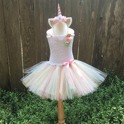 Girls Unicorn Tutu Dress With Headband - Cute Rainbow Unicorn Costume