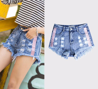High Waisted Ripped Denim Shorts Sexy Short Jeans