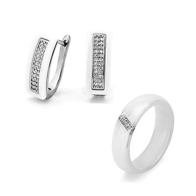 Jewelry Sets U Shape Stud Earrings & Rings - Black White Ceramic With Bling Rhinestone For Women