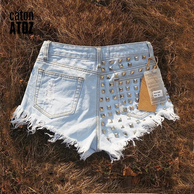 Sexy High Waisted Ripped Denim Shorts