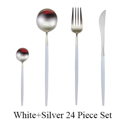 24 Pcs Highest Quality Cutlery Set - 304 Stainless Steel Flatware Set