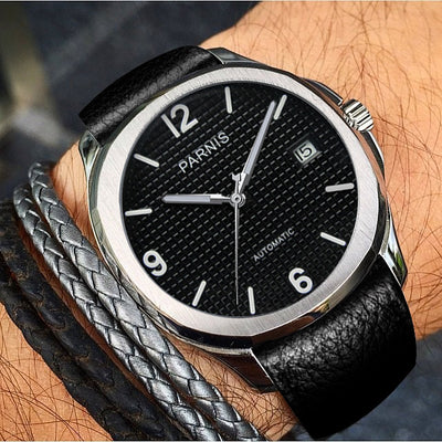 Parnis Automatic Watch Genuine Leather Wristwatch