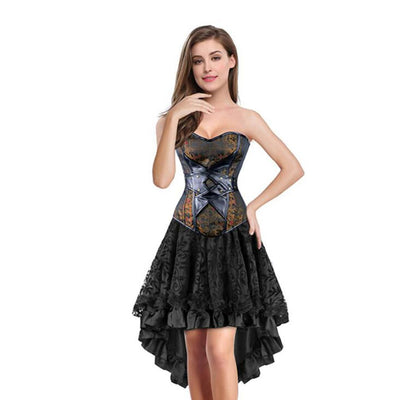 Sexy Gothic Corset Dress - Overbust Corsets and Bustiers Skirt Waist Trainer
