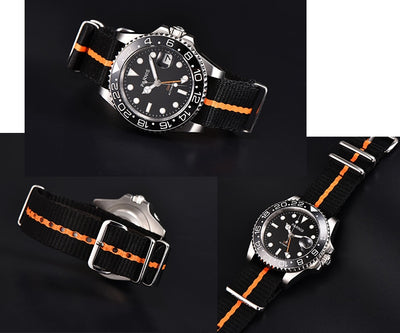Parnis Mechanical Watches 40mm Rotating Ceramic Bezel GMT Automatic Watch Men