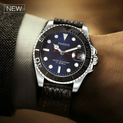 Parnis Automatic Watch Diver Swim Water Resistant - 21 Jewels Mechanical Watches