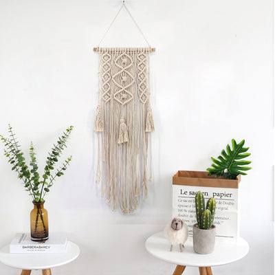 Handmade Macrame Wall Hanging Tapestry with Lace Fabrics