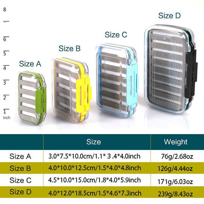 Waterproof Fly Fishing Tackle Box High Density Plastic With Slit/Grip Foam - 4 Size Boxes