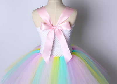 Girl Unicorn Costume Cute Rainbow Tutu Dress