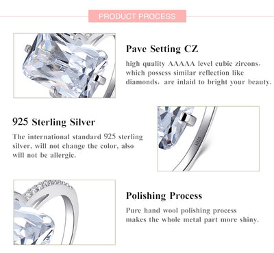 100% 925 Sterling Silver Rectangle 5A Clear Zircon Ring Wedding Jewelry