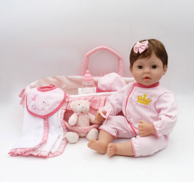 Sleeping Basket Lifelike Baby Dolls 41 CM Soft Silicone Vinyl Reborn Baby Girl Dolls