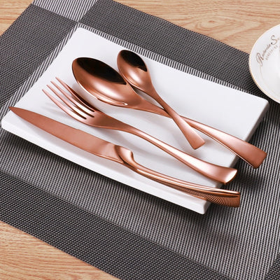 24 Pcs Stainless Steel Rose Gold Flatware Set Cutlery Knife Fork Spoon Set
