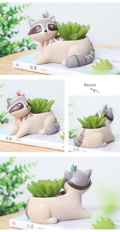 Mini Resin Flower Plant Pot - Cute Animal Bonsai Cactus Pot