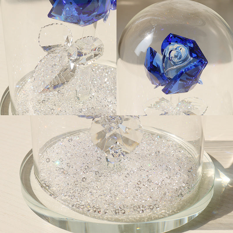 4.7'' Crystal Enchanted Rose - Blue Rose Flower Figurine in a Glass Dome with Gift Box