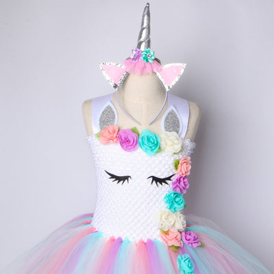 Cute Pastel Rainbow Unicorn Tutu Dress For Girls Birthday Party Dress