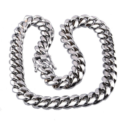 Hip Hop Stainless Steel Cuban Miami Chain Necklace Dragon Clasp Link Silver Chain
