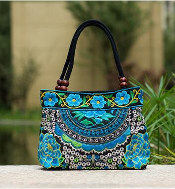 Floral Embroidered Handbags Women Ethnic Zipper Bag