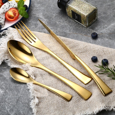 24 Pcs Stainless Steel Gold Plate Flatware Set Cutlery Knife Fork Spoon Set