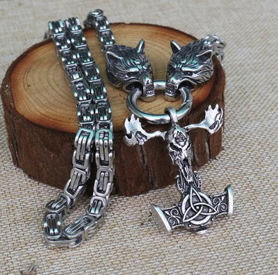 Men Stainless Steel Necklace With Odin Viking - Wolf Head Pendant Ethnic Talisman Jewelry
