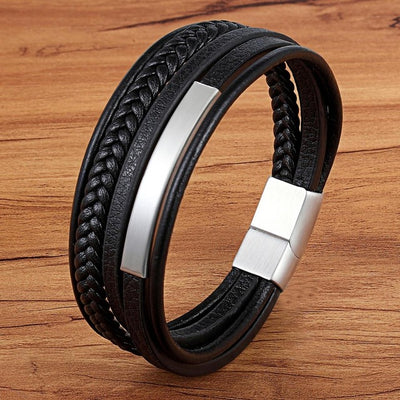 Classic Genuine Leather Bracelet For Men Multilayer Magnet Clasp
